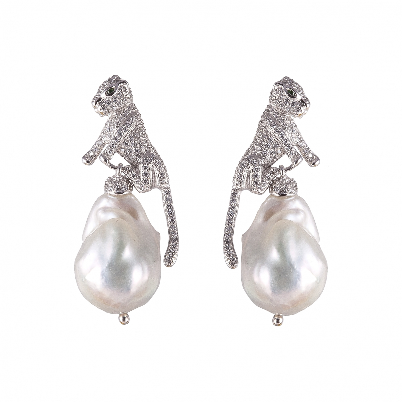 Panthers With Baroque Pearls Earrings