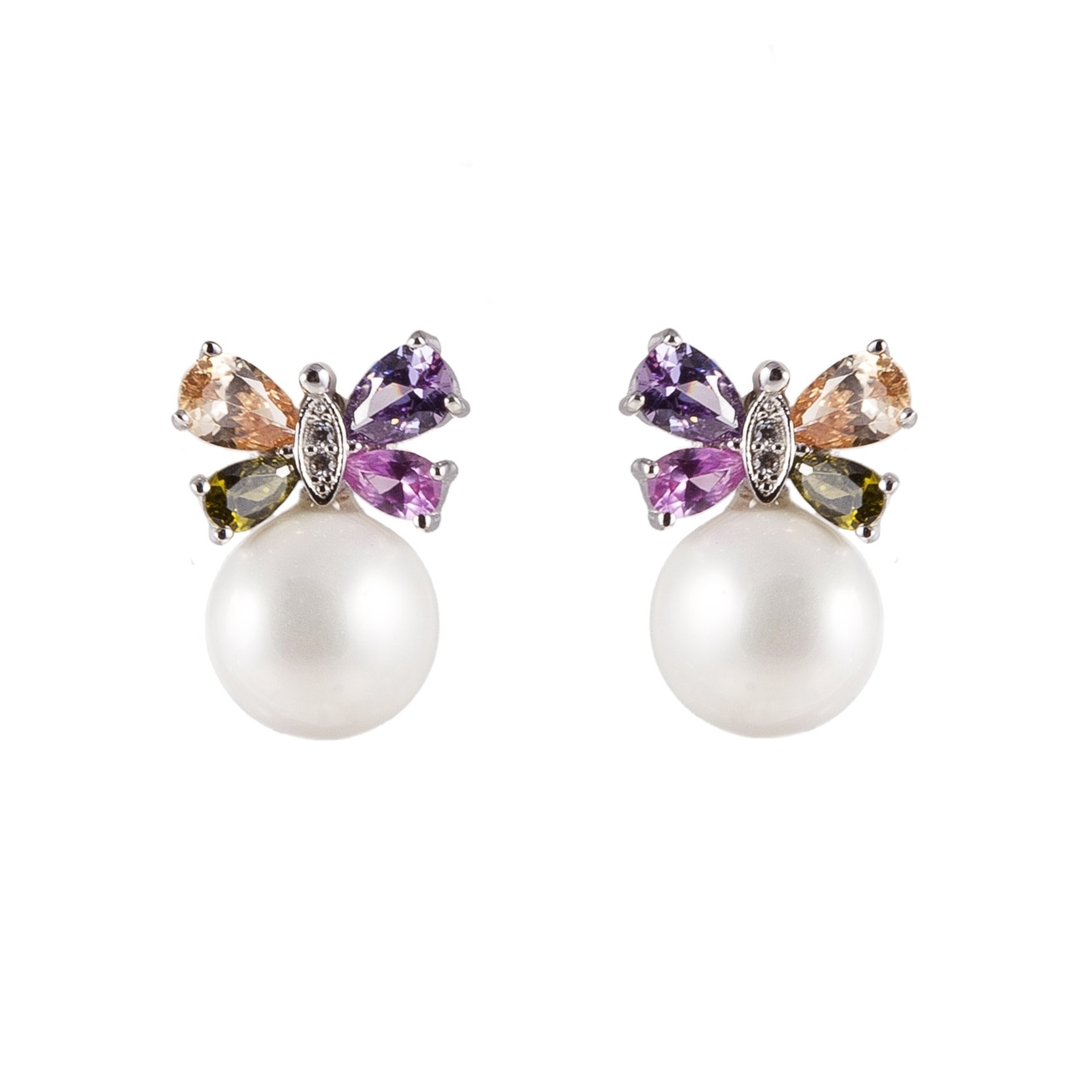 Colored Butterfly Pearls Earrings
