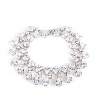 Moving drops white stones bracelet