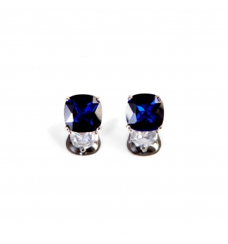 Rounded deep blue stone earrings
