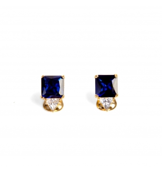 Square deep blue stone earrings