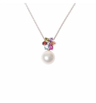 Ciondolo perla con fiore colorato