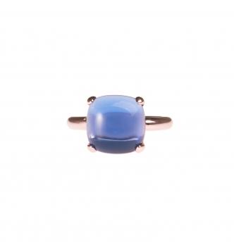 Anello pietra blu cabochon