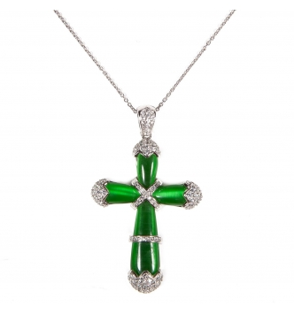 Green hydrothermal quartz cross pendant