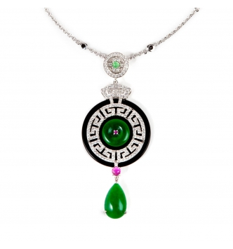 Green & Black round agate with green drop pendant