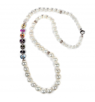 Pearls chain with multicolor insert