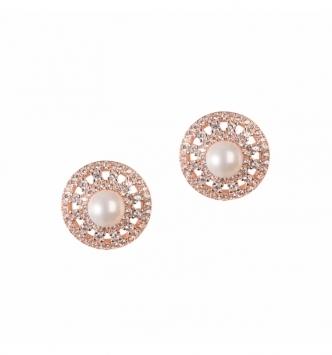 Orecchino perle cerchi rose'
