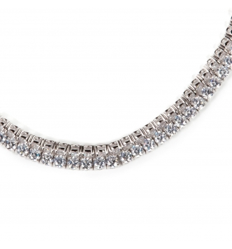 Long lenght silver tennis necklace