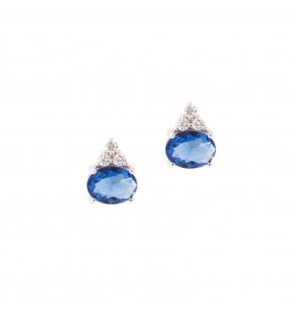White oval zircons earring