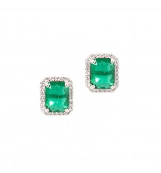 Orecchino rettangolo smeraldo piccolo