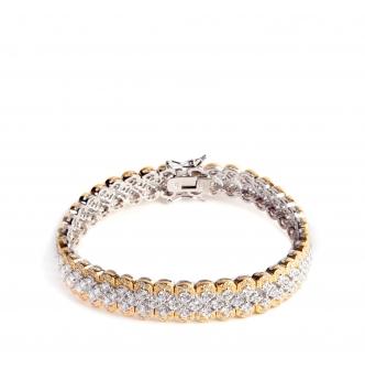 Sparkling two-tones silver bracelet