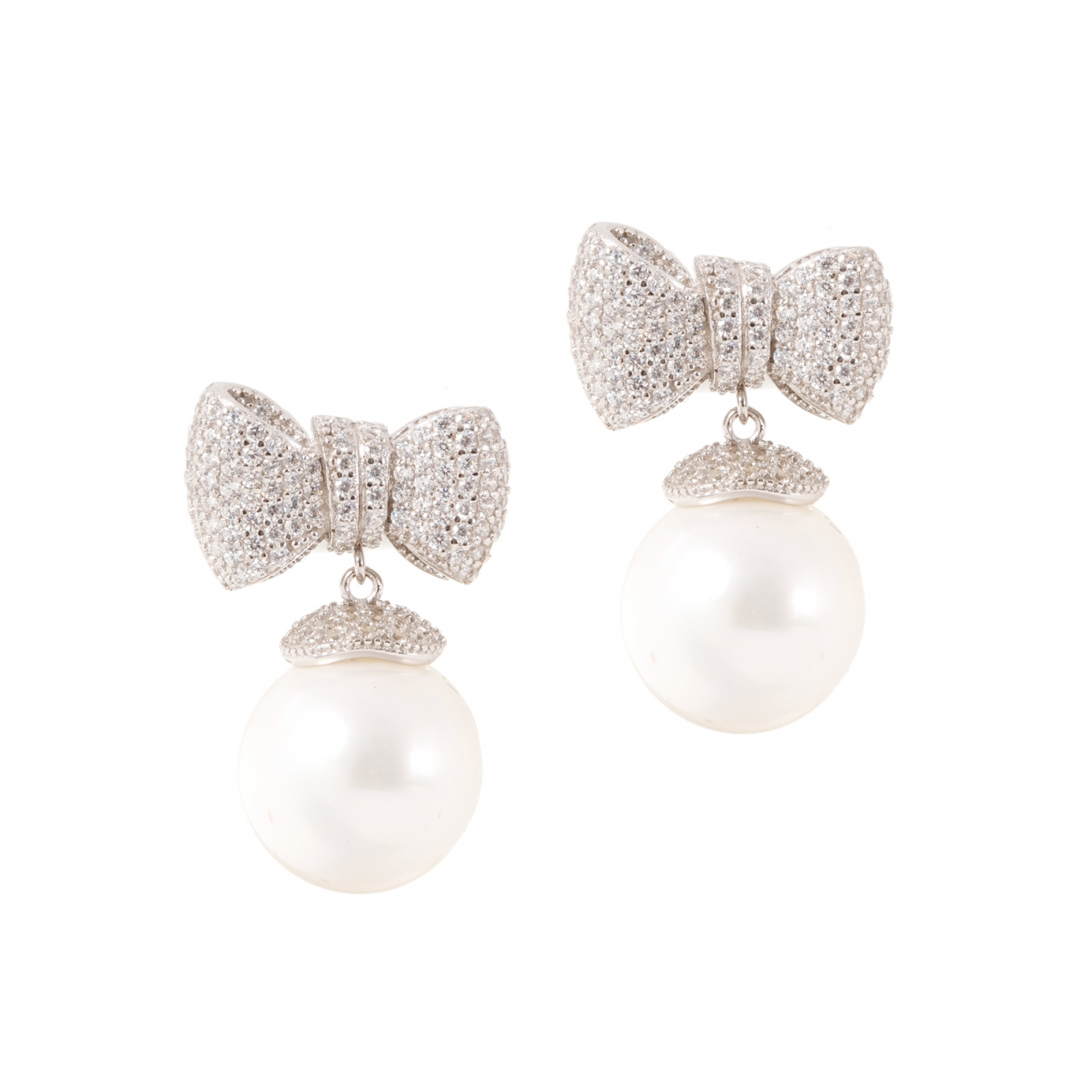 Pearls With White Bow Earrings