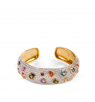 Multicolor gold plated silver bangle