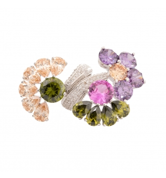 Contrariè multicolor half flower ring