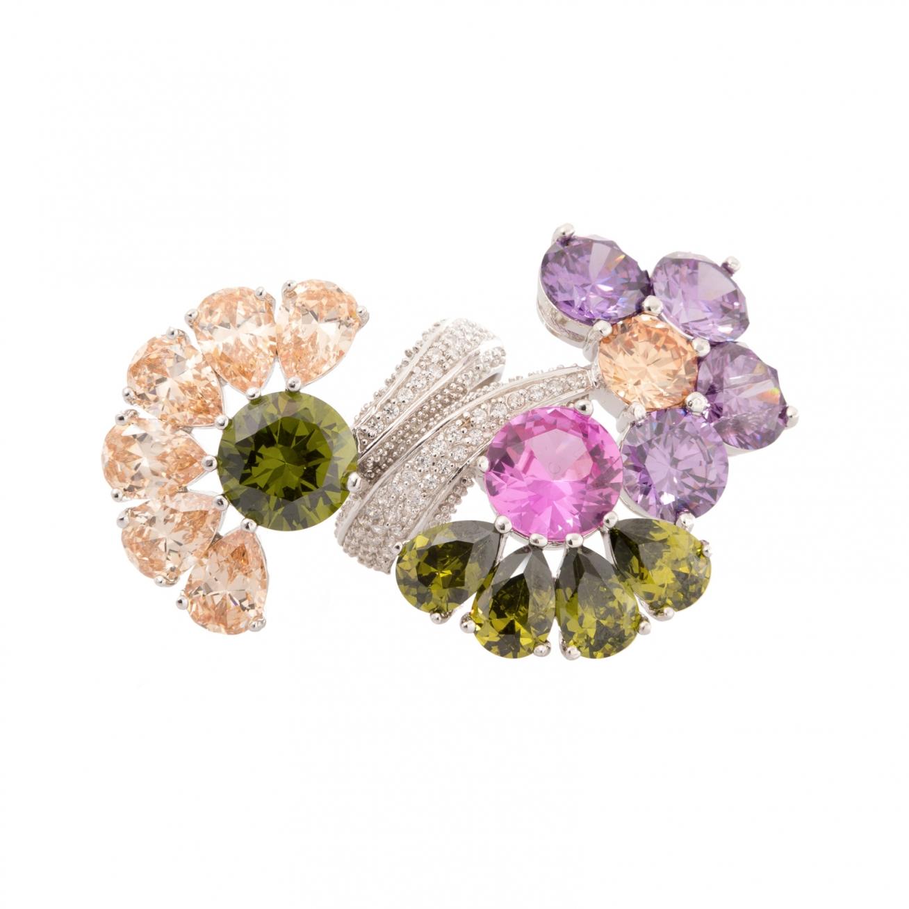 Anello contrariè mezzi fiori colorati