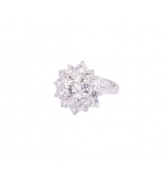 White flower silver ring