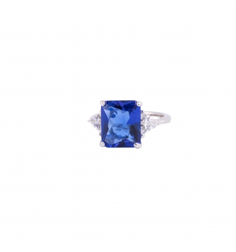Octagonal blue ring
