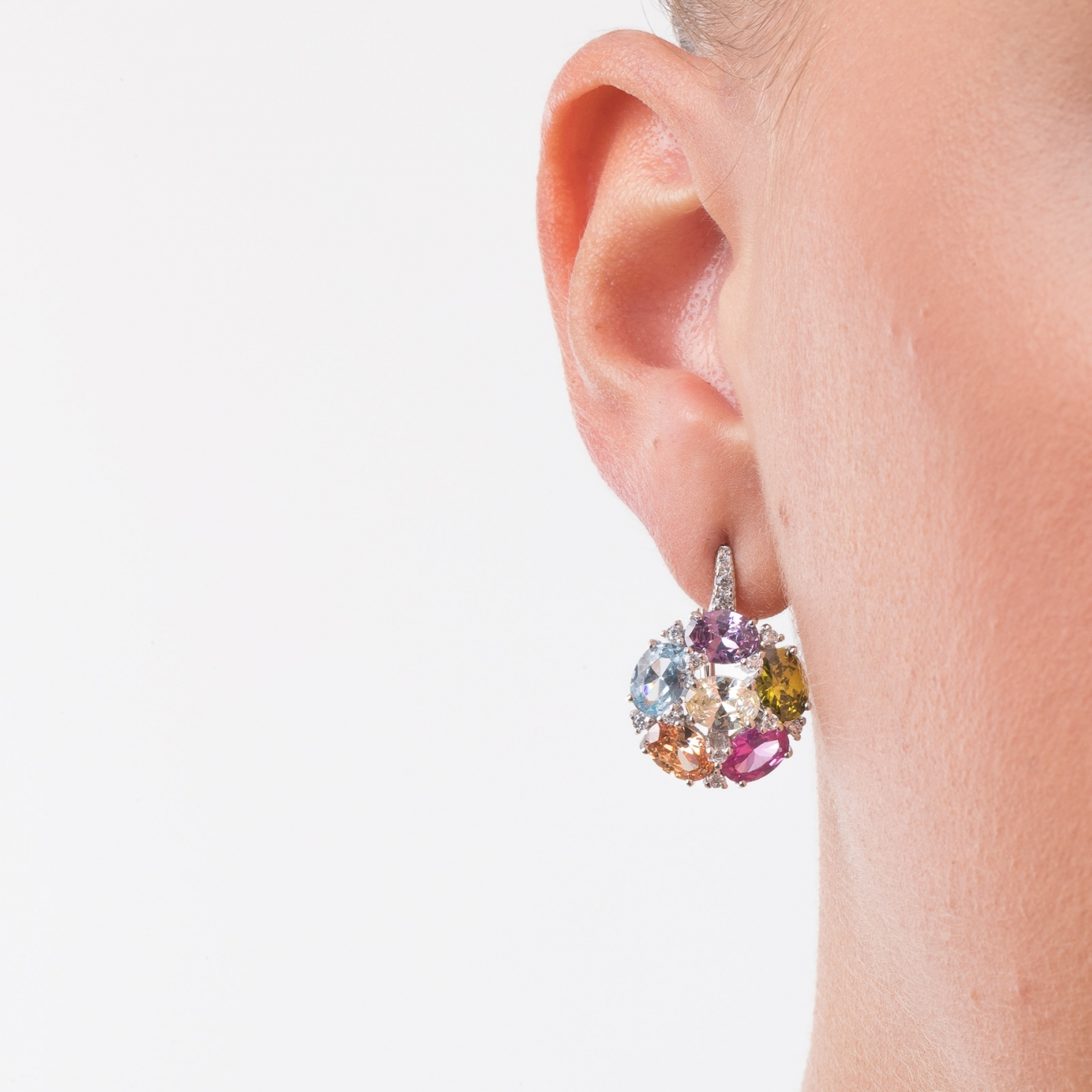 studs rose multi london jewellery product coloured designer gem earrings stud road bubble color gold