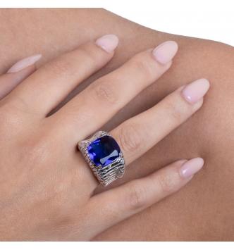 Anello con pietra ottagonale blue