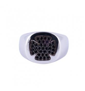 Anello con quadrifoglio di zirconi neri