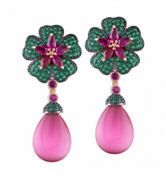 Drop pendant flower earring