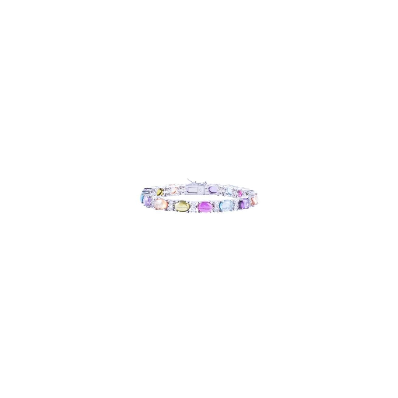 Multicolor oval cabochon tennis bracelet