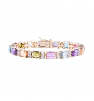 Multicolor oval cabochon plated tennis bracelet