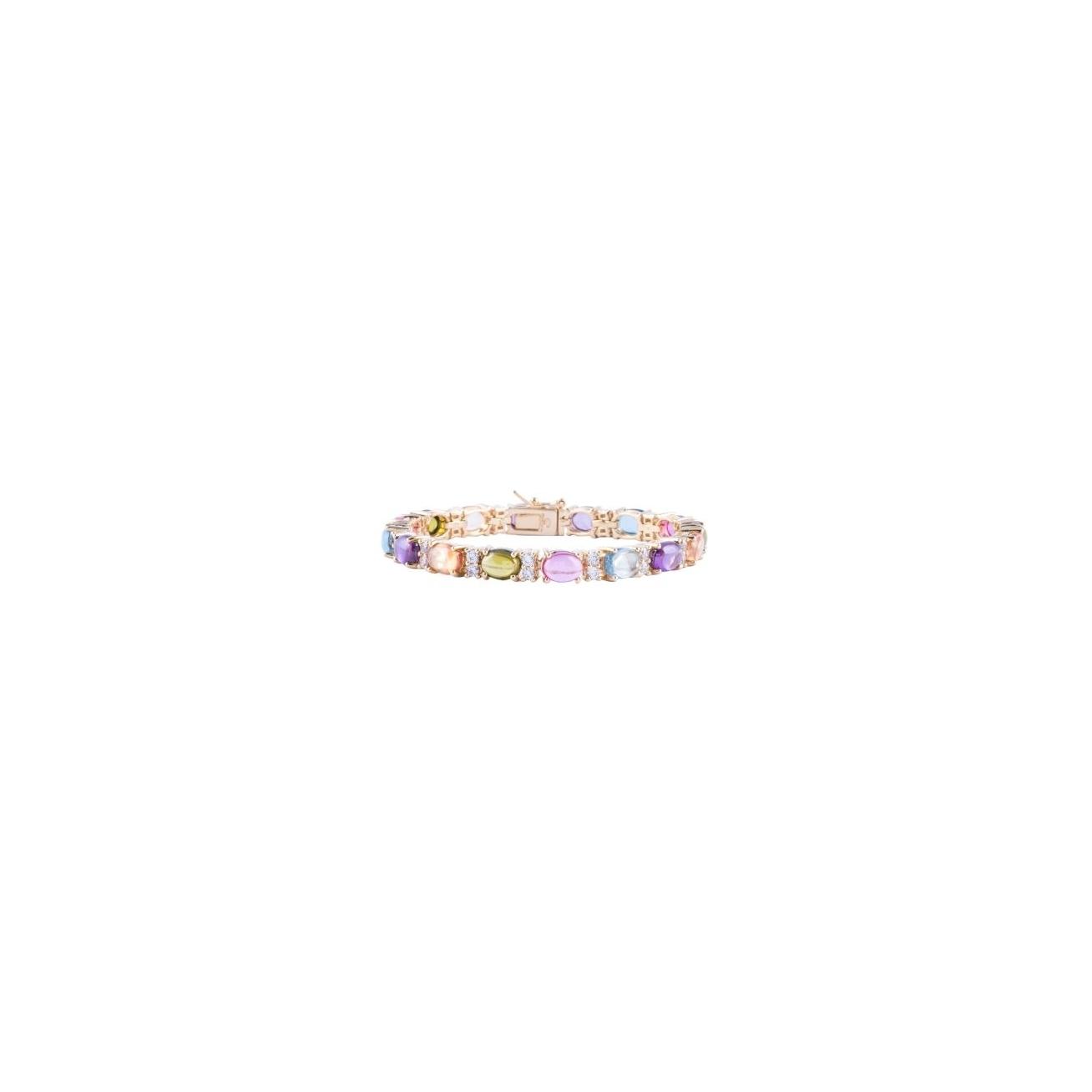 Multicolor oval cabochon plated tennis bracelet