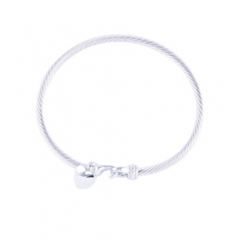 Smooth heart rigid bracelet