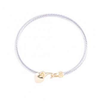 Smooth heart bicolor rigid bracelet