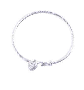 Pave' heart rigid bracelet