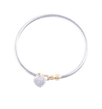 Pave' heart bicolor rigid bracelet