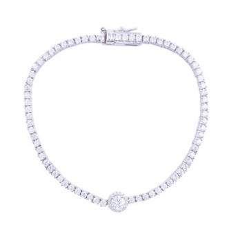 Tennis bracelet with central element