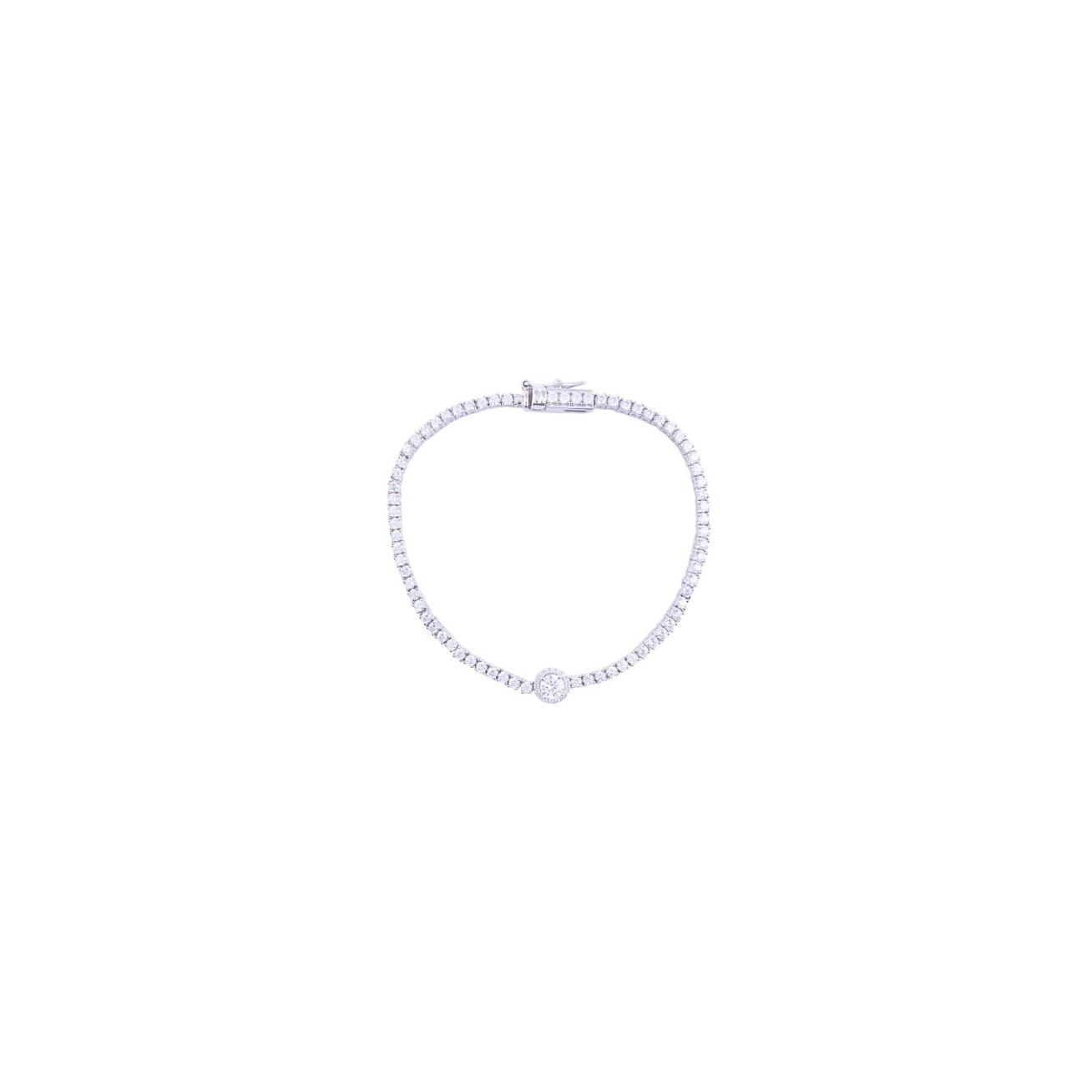 Tennis bracelet with central element