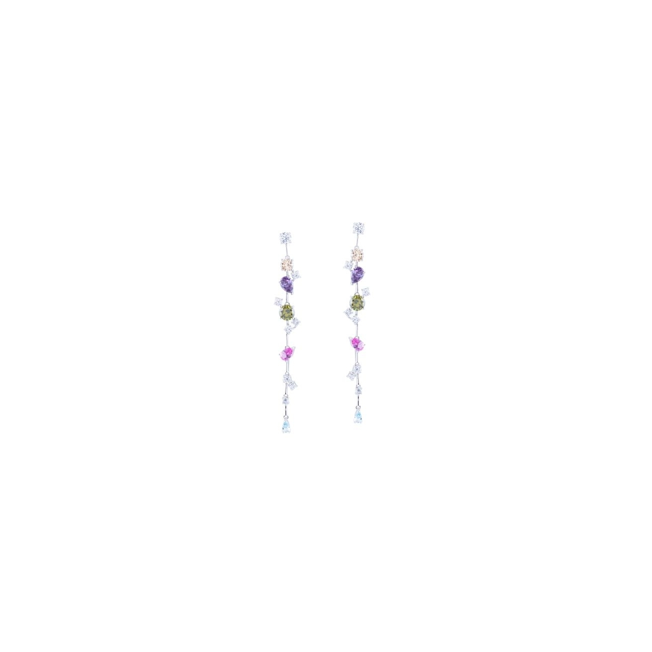 Multicolor branch earring
