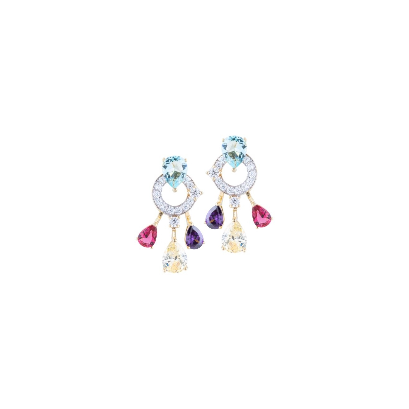Multicolor pendant plated earring