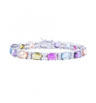 Bracelet with oval cabochon multicolored stones and white zircons