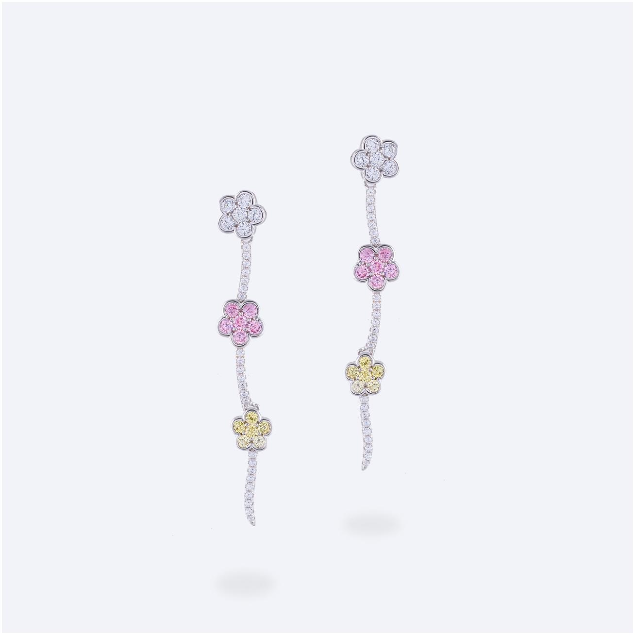Orecchino pendente fiori colorati