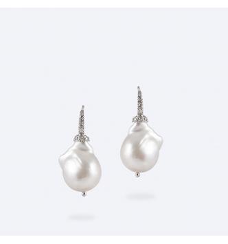Orecchino bianco perla barocca