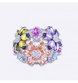 Anello fiori multicolor