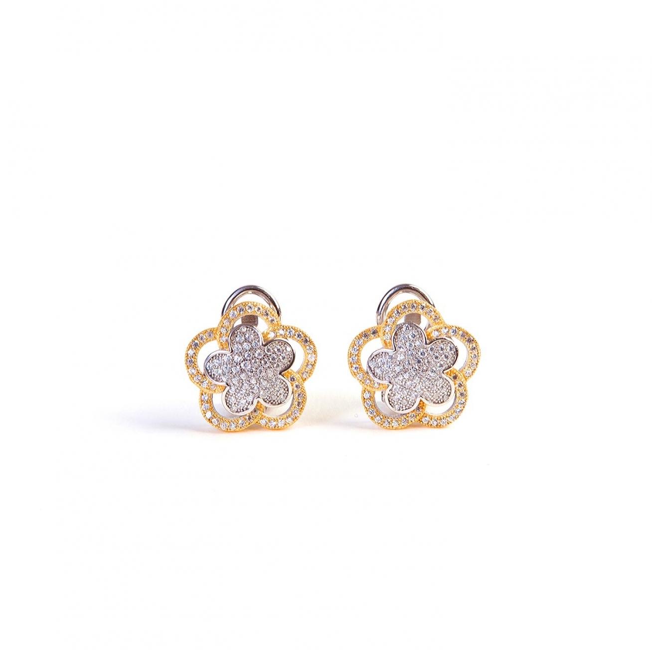 Two-tones flower earrings